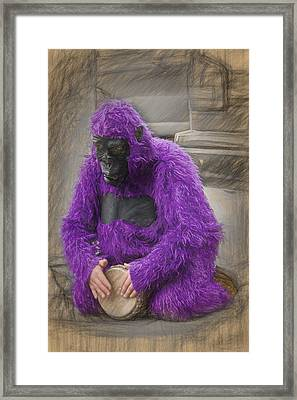 Magenta Gorilla Framed Print by John Haldane