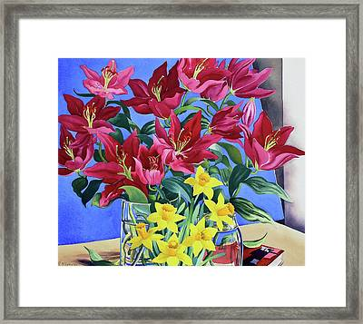 Magenta Lilies And Daffodils Framed Print by Christopher Ryland