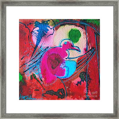 Magenta Marching Bird Framed Print by Ana Maria Edulescu