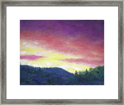 Magenta Sunset Oil Landscape Framed Print