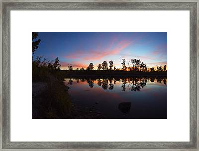 Magenta Sunset Over Boise River In Boise Idaho Framed Print by Vishwanath Bhat