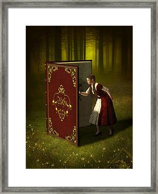 Magic Book Of Tales Framed Print