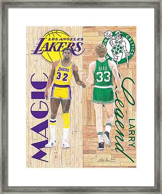 Magic Johnson And Larry Bird Framed Print