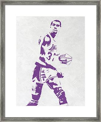 Magic Johnson Los Angeles Lakers Pixel Art Framed Print