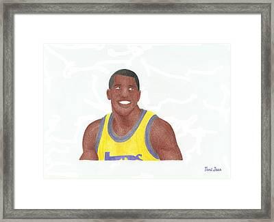 Magic Johnson Framed Print by Toni Jaso