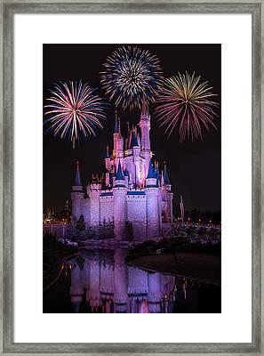 Magic Kingdom Castle Under Fireworks Framed Print