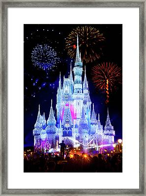 Magic Kingdom Fireworks Framed Print