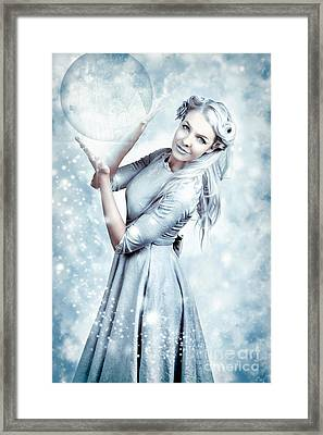 Magic Winter Woman In Luxury Fashion And Makeup Framed Print by Jorgo Photography - Wall Art Gallery