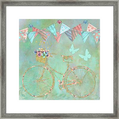 Magical Bicycle Tour Enchanted Happy Art Framed Print by Tina Lavoie
