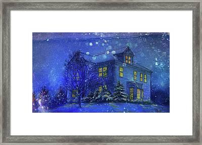 Magical Blue Nocturne Home Sweet Home Framed Print