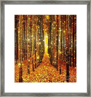 Magical Forest Golden Framed Print by Johari Smith