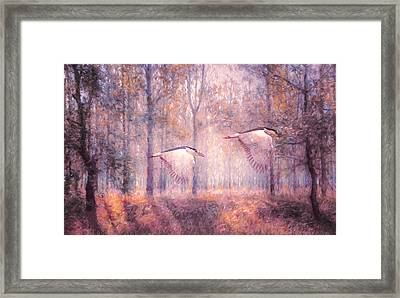 Magical Forests Impressionism Rose Quartz Tone Framed Print by Georgiana Romanovna