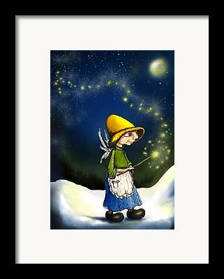 Fairy With Magic Wand Fantasy Art Framed Prints