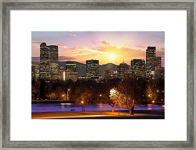 Magical Mountain Sunset - Denver Colorado Downtown Skyline Framed Print by Gregory Ballos