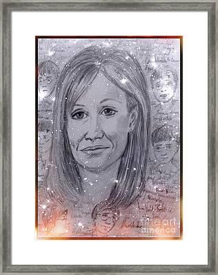 Magical Portrait Of J K Rowling Framed Print by Joan-Violet Stretch