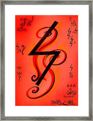 Magical Symbol - Sowilo - Shienste Skhaerso Framed Print by Sofia Metal Queen