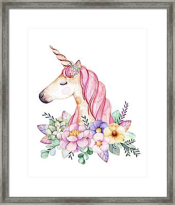 Magical Watercolor Unicorn Framed Print