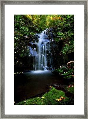 Magical Waterfall Above Spruce Falls In Tremont Smoky Mountains Tennessee  Framed Print
