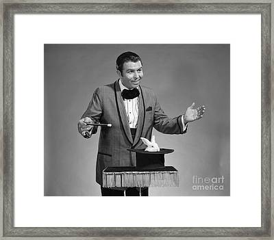Magician Conjures Rabbit, C.1960s Framed Print by H. Armstrong Roberts/ClassicStock