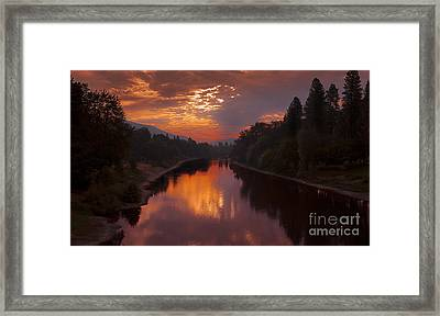 Magnificent Clouds Over Rogue River Oregon At Sunset  Framed Print