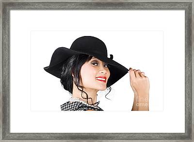 Magnificent Woman With Smile In Fashionable Sunhat Framed Print by Jorgo Photography - Wall Art Gallery
