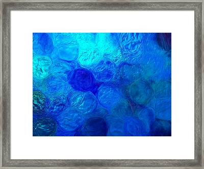Magnified Blue Water Drops-abstract Framed Print