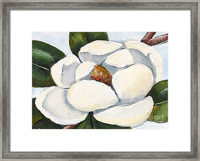 Magnolia On Blue Framed Print by Elaine Hodges