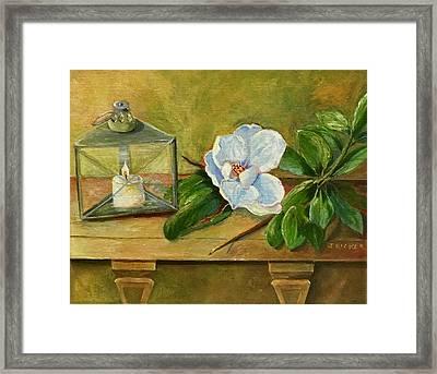 Magnolia On Mantel  Framed Print