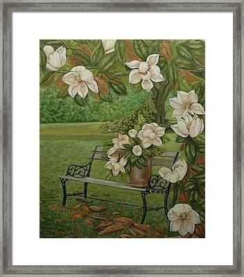 Magnolia Tree Framed Print by Tresa Crain
