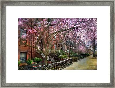 Framed Print featuring the photograph Magnolia Trees In Spring - Back Bay Boston by Joann Vitali