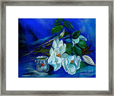 Magnolias And Cream Framed Print by Jenny Lee