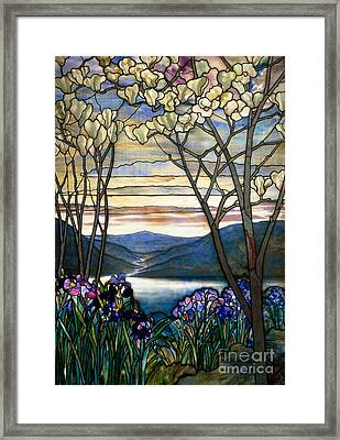Magnolias And Irises Framed Print by Louis Comfort Tiffany