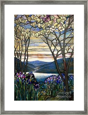 Magnolias And Irises Framed Print