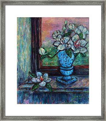 Framed Print featuring the painting Magnolias In A Blue Vase By The Window by Xueling Zou