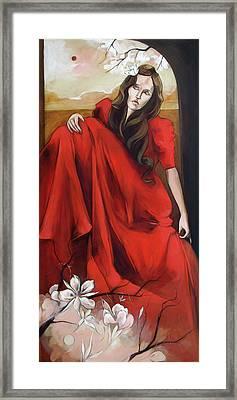 Magnolia's Red Dress Framed Print by Jacque Hudson