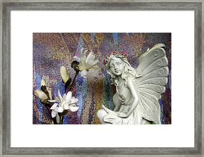 Magnolias With Fairy Framed Print
