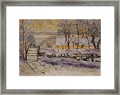 Magpie After Claude Monet Framed Print