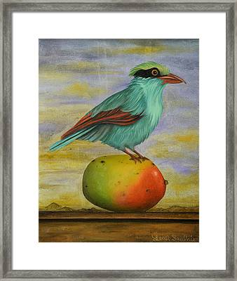 Magpie On A Mango Framed Print by Leah Saulnier The Painting Maniac