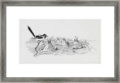Magpie Surveying Indian Tipi Village Framed Print