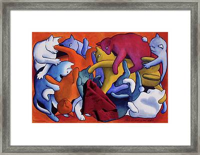 Magritte's Cats--this Is Not A Cat Fight Framed Print by Eve Riser Roberts