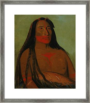 Mah-to-toh-pa, Four Bears, Second Chief In Mourning Framed Print by George Catlin