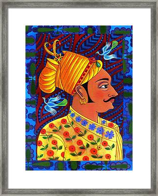 Maharaja With Blue Birds Framed Print by Jane Tattersfield