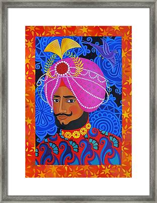 Maharaja With Pink Turban Framed Print by Jane Tattersfield