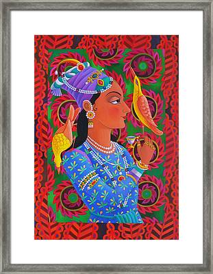 Maharani With Two Birds Framed Print by Jane Tattersfield
