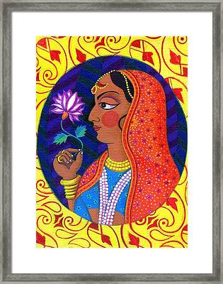Maharani With White And Pink Flower Framed Print by Jane Tattersfield
