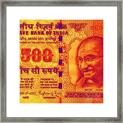 Framed Print featuring the digital art Mahatma Gandhi 500 Rupees Banknote by Jean luc Comperat