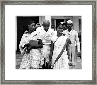 Mahatma Gandhi, At Age 70, With His Two Framed Print by Everett