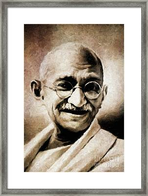 Mahatma Gandhi By Mary Bassett Framed Print by Mary Bassett
