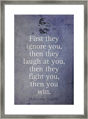 Mahatma Gandhi Quote On Winning Framed Print