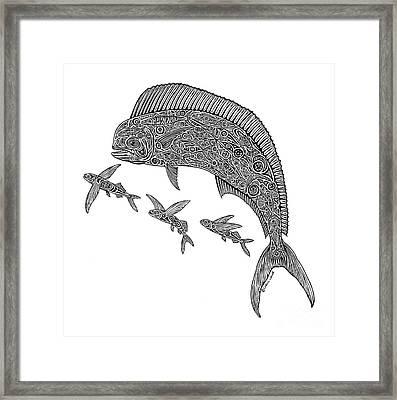 Mahi With Flying Fish Framed Print